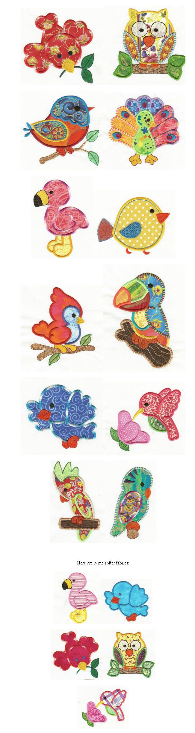 bordados o aplicar en tela  Embroidery | Free machine embroidery designs | Birds of a Feather Applique