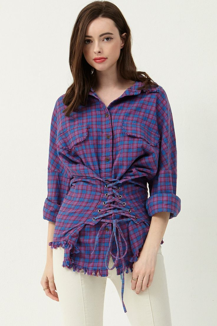 Isabel Tratan Check Corset Shirt Discover the latest fashion trends online at storets.com