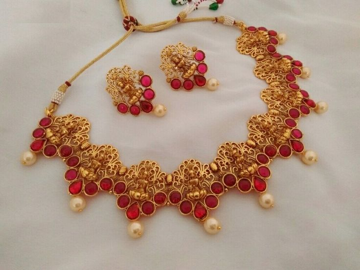 Temple Jewellery Lakshmi Necklace red crystals,  Earrings