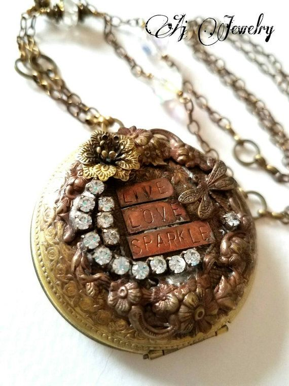 Check out this item in my Etsy shop https://www.etsy.com/listing/480005360/live-love-sparkle-large-locket-necklace