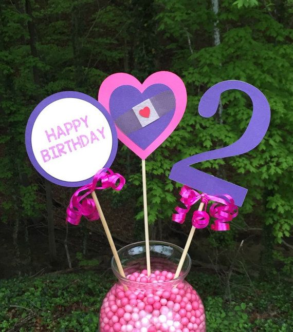 Set of 3 pieces=$7.49 Includes: (1) 4 Heart attached to wooden dowel, (1) Number (size varies depending on the #) attached to a wooden dowel with curled ribbon, (1) 4 Happy Birthday circle attached to wooden dowel with curled ribbon. Vase not included. The Doc is in & its time for your check-up! Check out this adorable Doc McStuffins Centerpiece that is ready to be placed in your favorite pale for decoration or on top of a cake! It is a wonderful choice for anyone who is throwing a party. It…