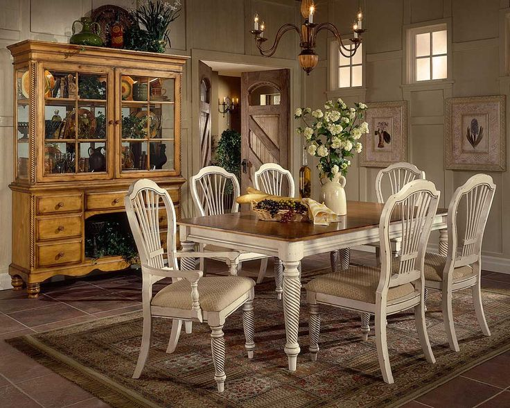 Hillsdale Wilshire 7 Piece Rectangular Dining Table Set In Antique White  Finish Part 57