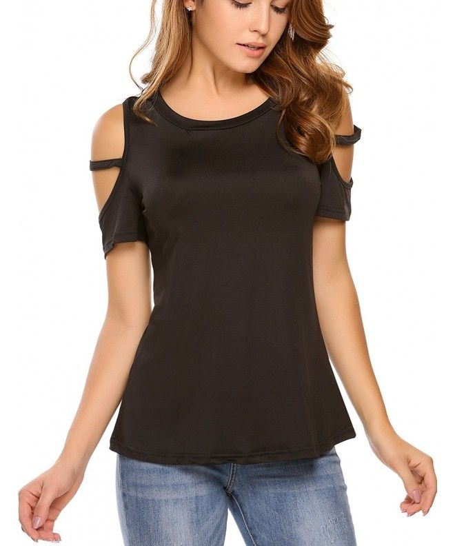 f4aab530318 Women's Casual Loose Cut Out Cold Shoulder T-Shirt Short Sleeve Tops -  Black - C2184RHTRCE,Women's Clothing, Tops & Tees, Knits & Tees #Tops #Tees  #Tshirts ...