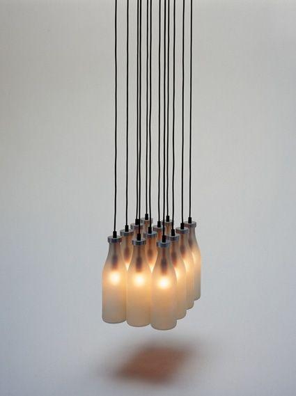 Milk Bottle Lamp Chandelier by Tejo Remy for Droog Design   Available from NOVA68.com Modern Design