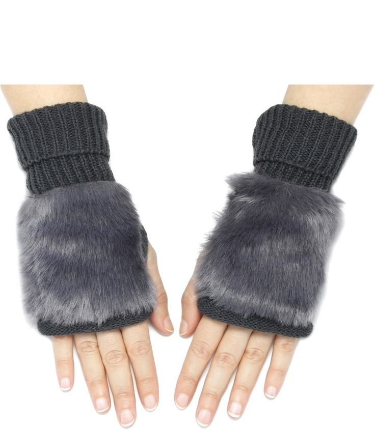 FAUX FUR FINGERLESS MITTENS IN CHARCOAL