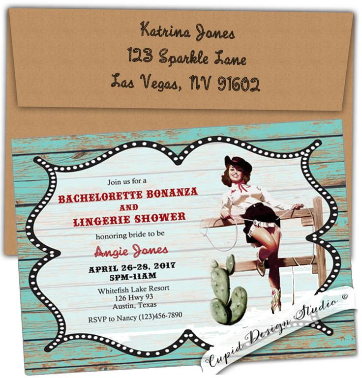 A personal favorite from my Etsy shop https://www.etsy.com/listing/122846105/rustic-bridal-shower-invitation-cowgirl