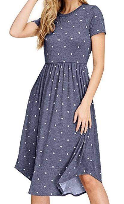 Simier Fariry Women Summer Pleated Polka Dot Pocket Loose Swing Casual Midi  Dress c290b2693