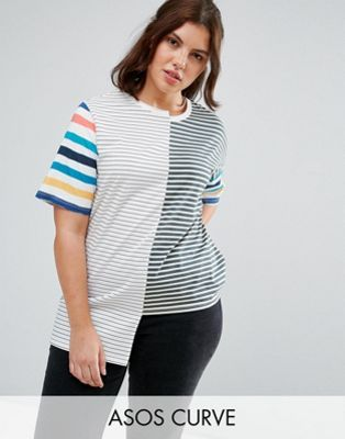 ASOS CURVE T-Shirt in Oversized Fit and Mix and Match Stripes