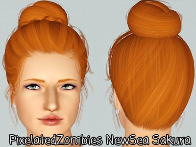 High bun hairstyle Newsea's Sakura retextured by Pixelated Zombies for Sims 3 - Sims Hairs - http://simshairs.com/high-bun-hairstyle-newseas-sakura-retextured-by-pixelated-zombies/