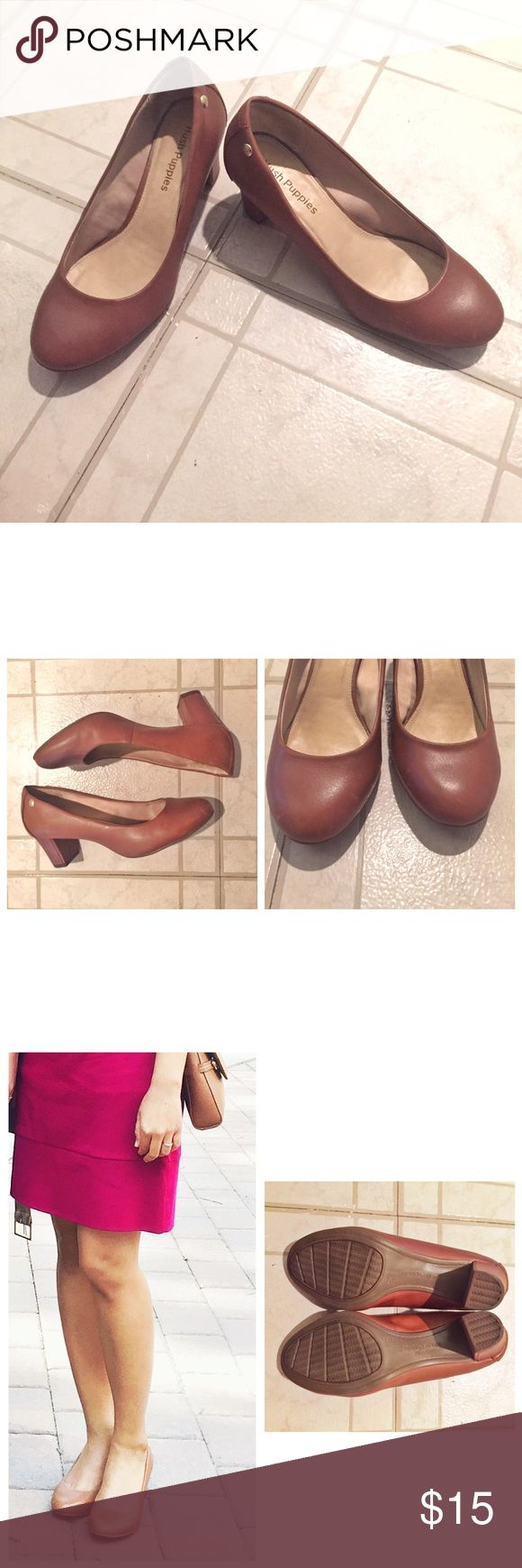 Leather Pumps Hush Puppies leather pumps with rubber sole. Very classic and so comfortable! Great for work! Has signs of wear pictured above but still has lots of life left. The heel is about 2 inches. Hush Puppies Shoes
