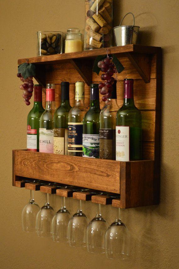 Rustic Reclaimed Wood 7 bottle Wine Rack Shelf with 6 glass holder.