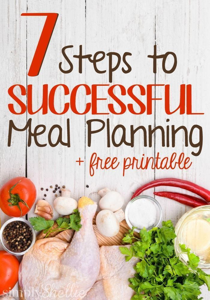 Meal Planning can be an excellent way to be organized and save time and money. Here are 7 steps to successful meal planning. Everything you need to know to succeed. Plus a free printable meal plan calendar to get you started!