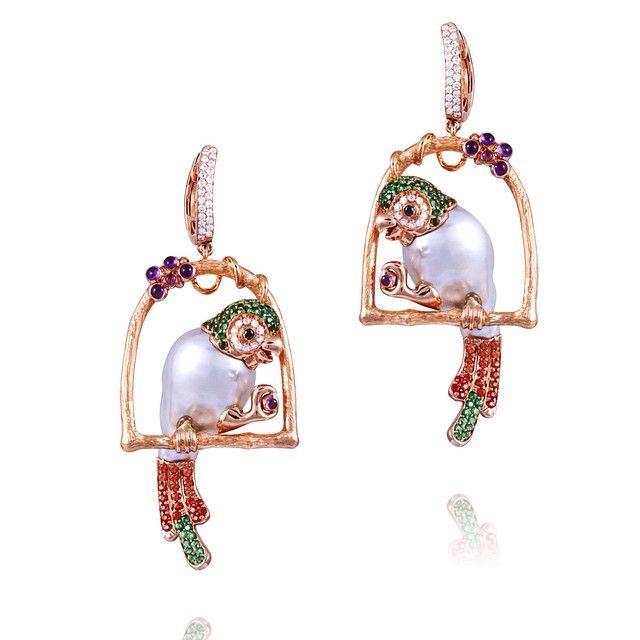 #parrot #pearl #earrings #precious #beautiful #unique #Buzzanca