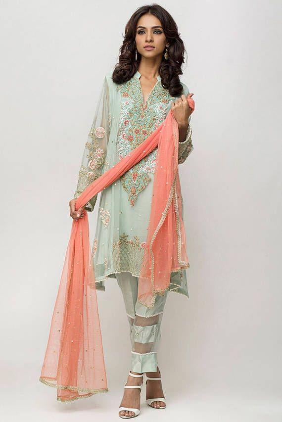 Deepak Perwani colección formal réplica principal, caramelo de menta, ropa mujer, ropa pakistaní
