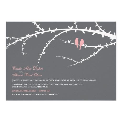 Love Birds Wedding Invitation (pink)