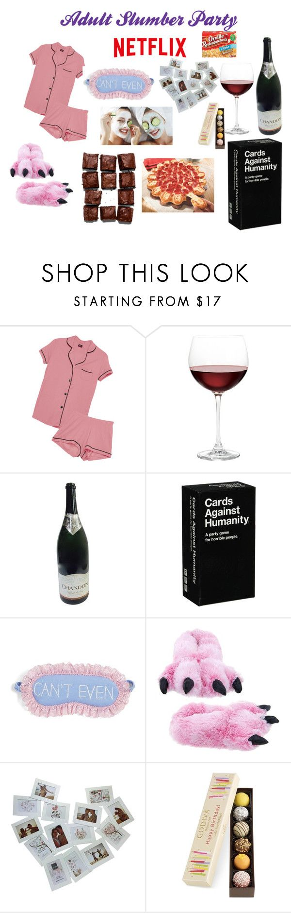"""Adult Slumber Party"" by buttercreamkisses ❤ liked on Polyvore featuring Cosabella, Nordstrom, P.J. Salvage and Godiva"