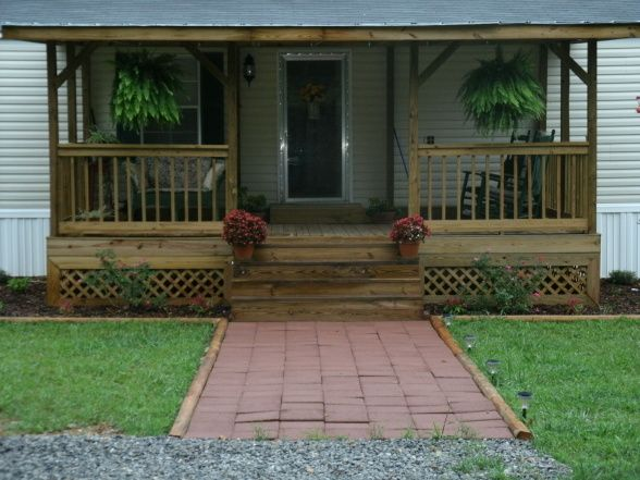 front porch front porch added to mobile home front view porches design - Mobile Home Designs