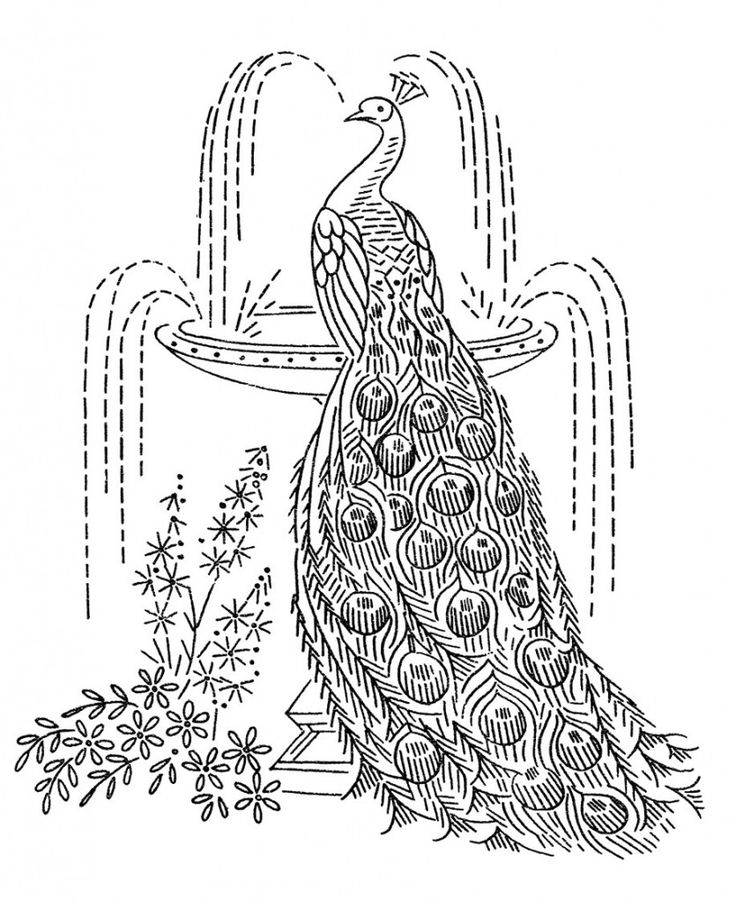 Laura Wheeler Embroidery Design 7107 — 3 Peacocks
