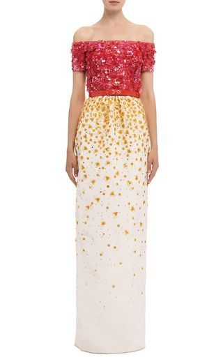 Off Shoulder Degrade Organza and Sequin Embroidered Gown by Oscar de la Renta for Preorder on Moda Operandi