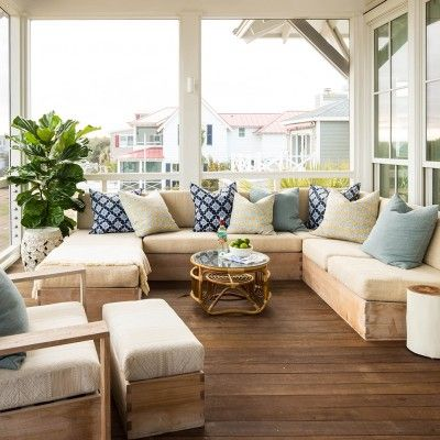 A sectional sofa suited for the outdoors offers plenty of room for lounging or entertaining friends | Coastalliving.com