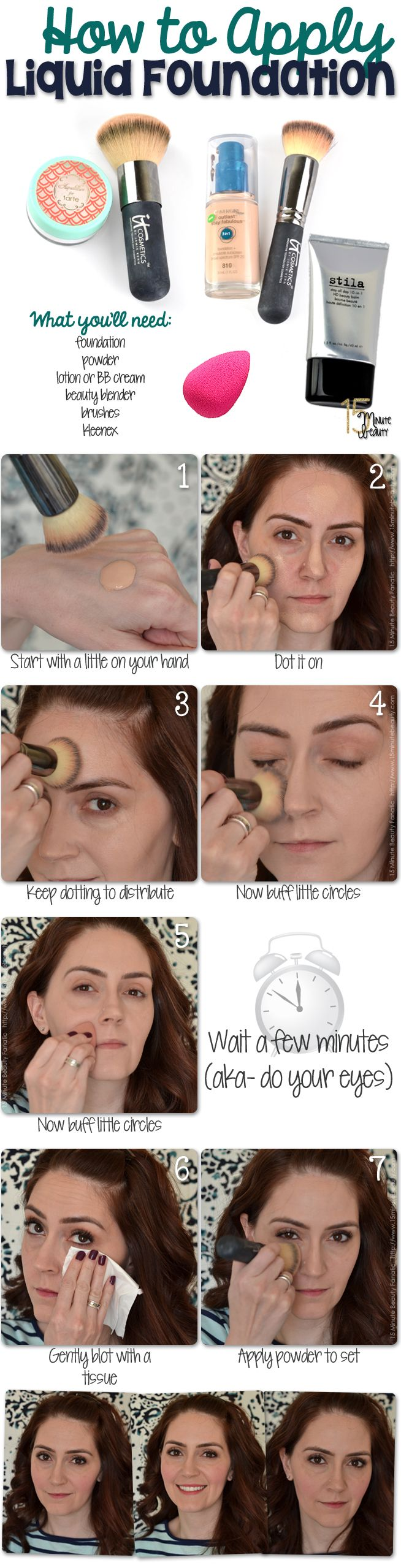 How I Apply Liquid Foundation for a Flawless (and Natural) Finish! via @15 Minute Beauty