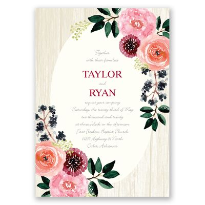 Painterly Posies Ballet Pink Floral Wedding Invitation. Floral Wood Grain at Invitations By David's Bridal