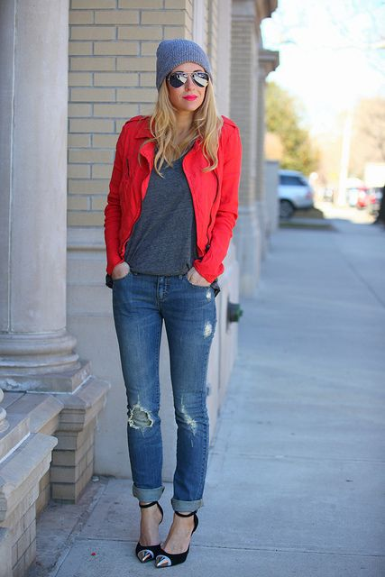 Fall layers - beanie plus bright moto-jacket plus shades plus worn in jeans. Done and Done!
