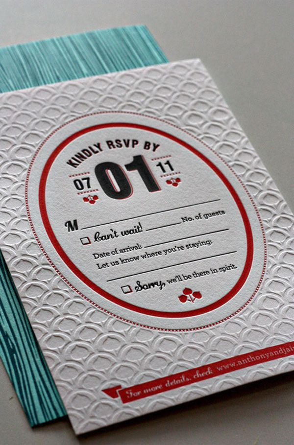 I love the texture of the blind emboss on this RSVP card! • Jaime & Anthony Wedding Invitation • Stoltz Marketing Group   Design: Kate Holgate • Printing: Paper Mill Designs Stationery & Letterpress Studio   Studio on Fire