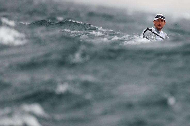 Giles Scott of Great Britain competes in the Men's Finn class on Day 5 of Rio…