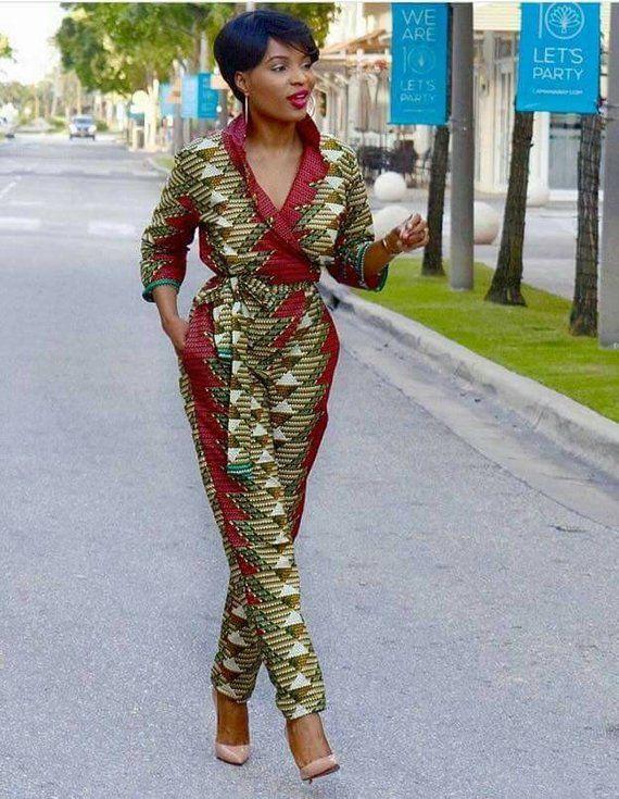 Salopette africaine avec deux côtés poche, ankara imprimer, usure du Parti africain, africain vêtements
