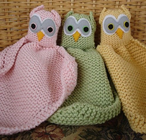 Free knitting pattern for Owl Loveys baby blanket buddy