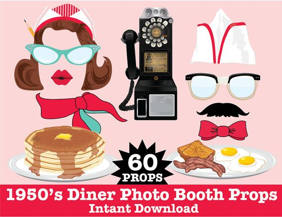 1950s Photo Booth Props, Diner Party, Fifties Party, Rockn Roll Party, Sock Hop Party - Instant Download PDF - 60 DIY Printable Props - $6.99