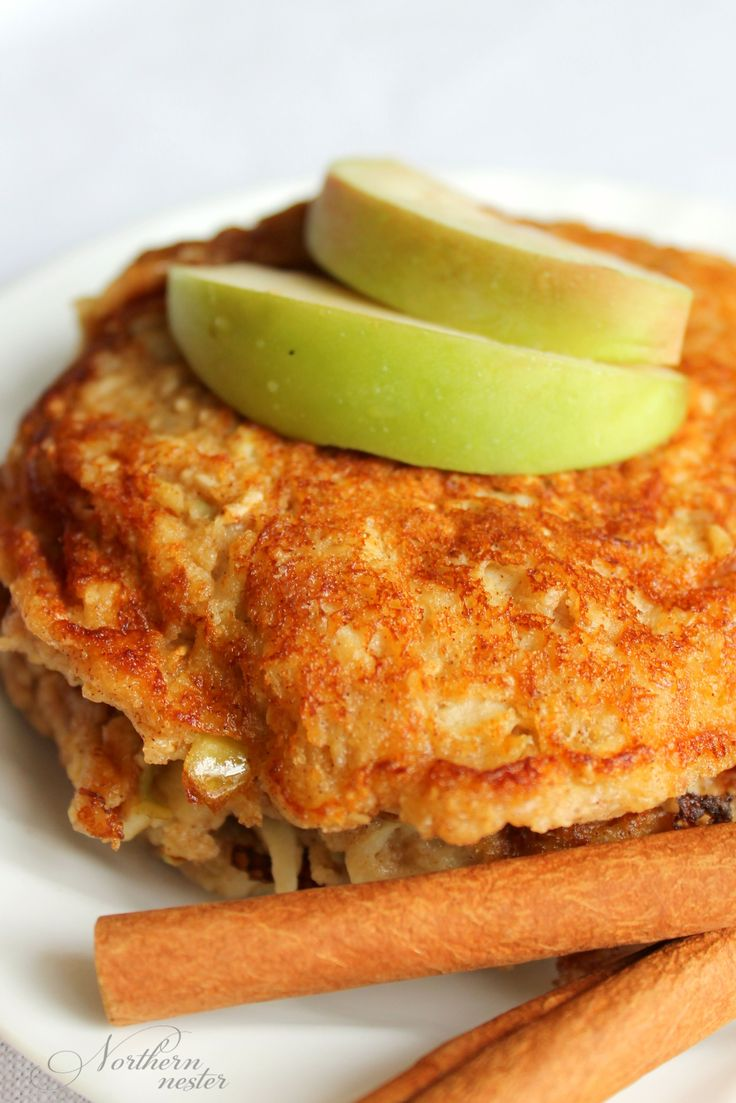 These Apple Flapjack Pancakes are a delicious way to start the day in THM E mode! Serve with sugar-free syrup or stevia-sweetened 0% Greek yogurt!