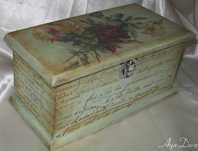 Decoupage Box - could be a good idea for the jewelry box I found