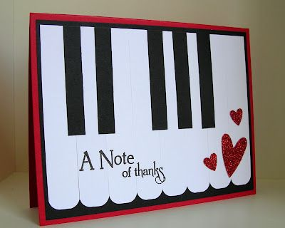 a note of thanks on piano keybd: Cards Ideas, Teacher Cards, Music Teacher, Cases Study, Piano Keys, Thanks You Cards, Note Cards, Challenges 87, Study Challenges