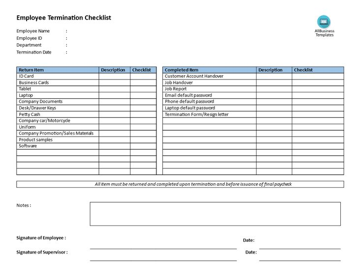 Example of termination letter to employee child support review employee termination checklist download this employee termination checklist to professionalize your hr process regarding termination spiritdancerdesigns Choice Image