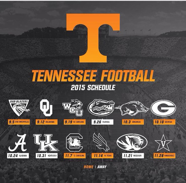 2015 Vol Football schedule. *insert bowling green for UAB*