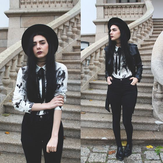 Shalex Black Roses Printed Shirt, Style Moi Leather Trench Coat, Dr. Martens Adrien Shoes - Black roses