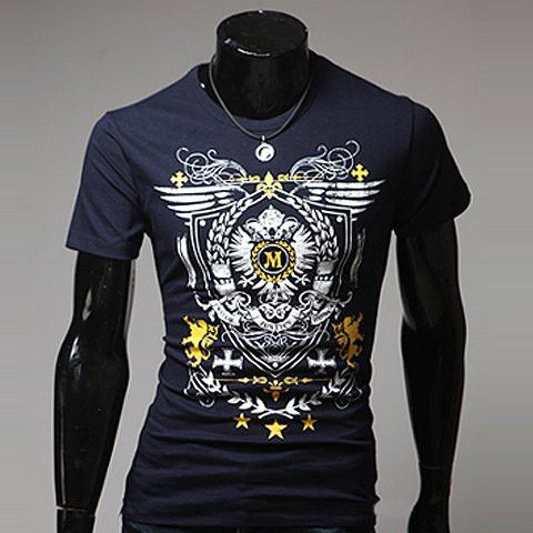 Fashion Round Neck Royal Pattern Short Sleeves Polyester T-shirt For M – teeteecee - fashion in style