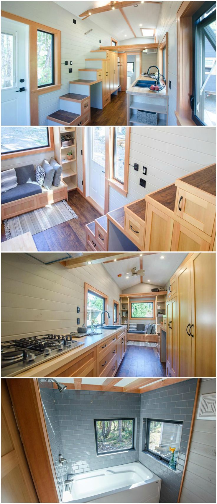 The Kestrel is a wonderful tiny house built by Rewild Homes.  The 24′ tiny house features living room with built-in bench seat and custom storage surrounding it. To the left is a large set of storage stairs that leads up to the bedroom loft, which has a venting skylight.  The kitchen includes hand-built birch cabinetry with soft-close drawers and cupboards, two large pantries under the storage stairs, a gas cooktop, and an apartment size refrigerator.