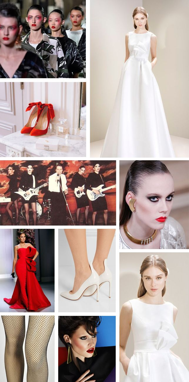 It's official; the 80's are back! Our feeds are full of high glamour, dramatic shoulders, fierce make up and power dressing and we LOVE it!  Inspired by Robert Palmer's addicted to love, this red and white 80's wedding inspiration board is fierce, fabulous and crazy cool. Obviously this look has to start with a fabulous bold red lip. Add this to a slicked back hairstyle for a chic, polished finish. A white electric guitar is optional… fishnet tights and killer heels are a must!