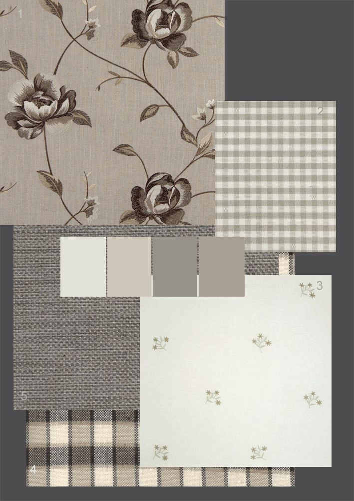 Fabrics: 1.Clarke & Clarke 'Alderly' 70% viscose/30% linen colour shown: linen 2.The Linen Works 'Kama Lin' 100% cotton colour shown: taupe 3.Chelsea Textiles 'Forget-me-not sprig' 100% embroidered linen colour shown: grey green 4.Marvic Textiles 'Toile Carreaux' 100% cotton colour shown: noir 5.Marvic Textiles 'Fortuna' 49% Linen/18% Cotton/18% Polyester/14% Viscose/1% Polyamide colour shown: flint