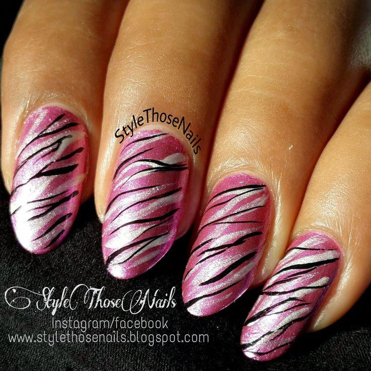 Click for more Style Those Nails: Metallic Pink Zebra Nailart - Swatch and NOTD #pinknails #zebraprintnails #animalprintnails