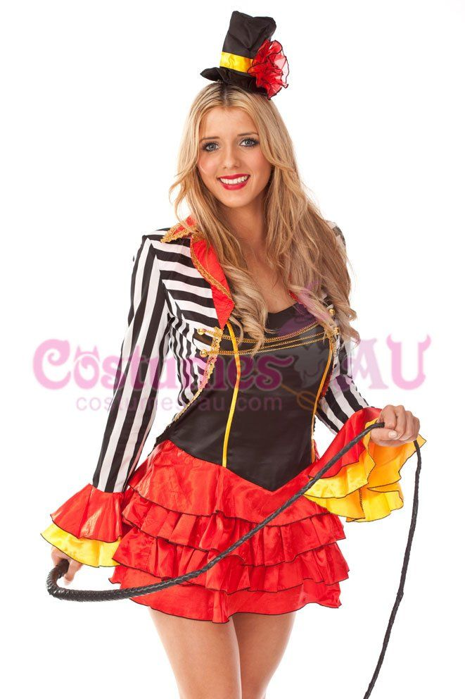 Ringmaster circus lion tamer showgirl fancy dress halloween costume o