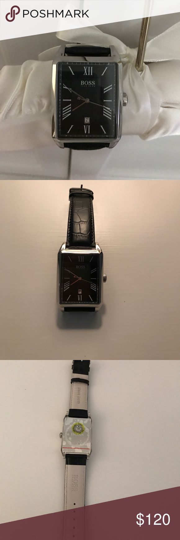 Men's Hugo Boss watch NWOT Hugo Boss watch with black leather straps. Brand new - never worn - still with stickers on the back! Hugo Boss Accessories Watches