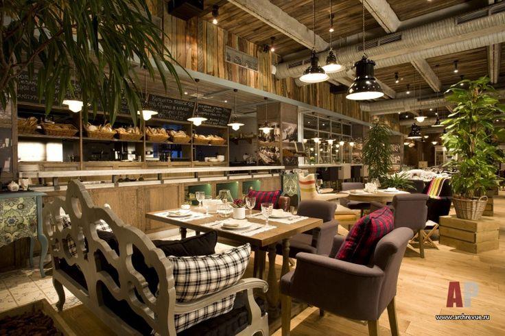 Фото интерьера открытой кухни ресторана в стиле фьюжн