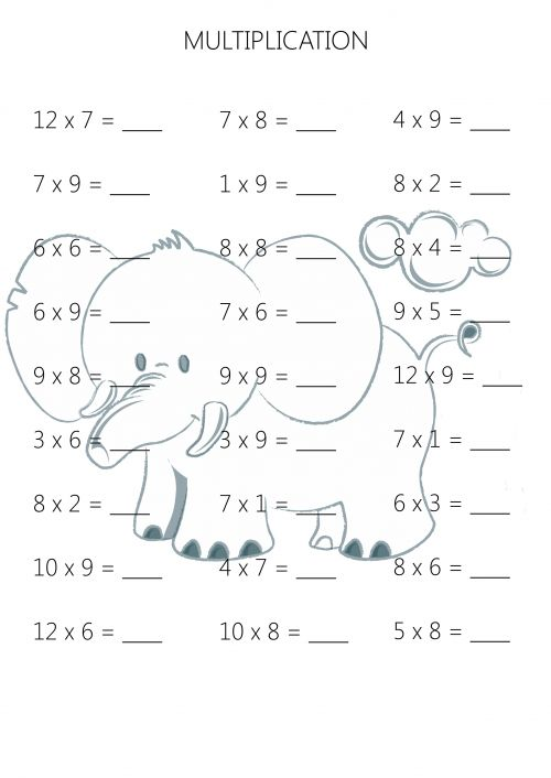 Easy Multiplication Practice Sheet 5