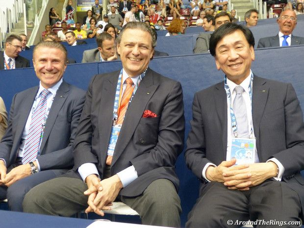 Three presidential candidates at judo world championships - Sergey Bubka, Richard Carrion, and C.K. Wu. (ATR)