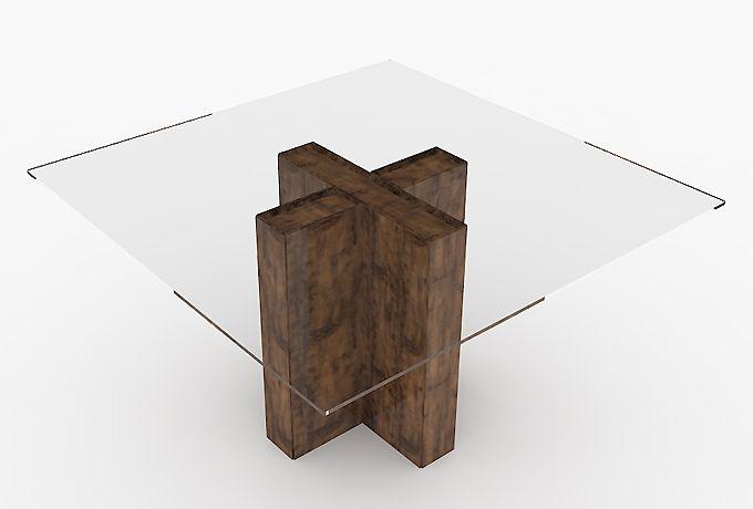 Mesa de jantar 8 lugares 140 x 140 com tampo de vidro 10 mm temperado - TM25 - Dalla Costa | Movelaria por R$ 1.071,60