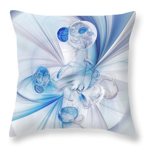 """Crystal Drops Throw Pillow by Marfffa Art.  Our throw pillows are made from 100% spun polyester poplin fabric and add a stylish statement to any room.  Pillows are available in sizes from 14"""" x 14"""" up to 26"""" x 26"""".  Each pillow is printed on both sides (same image) and includes a concealed zipper and removable insert (if selected) for easy cleaning."""